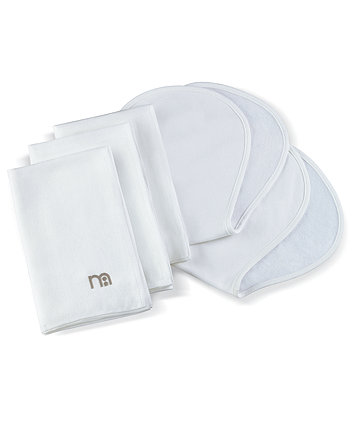 Innosense 3 Bamboo Muslin Cloths And 2 Bamboo Burp Cloths - White