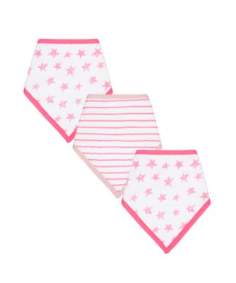 Mothercare Pink Star Muslin Dribbler Bibs - 3 Pack