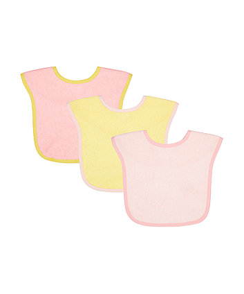 Mothercare Pink Towelling Bibs - 3 Pack