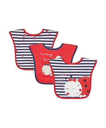 Mothercare Ladybird Toddler Bibs - 3 Pack