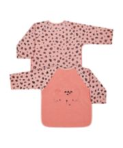 Mothercare Pink Cat Towelling Coverall Bibs - 2 Pack