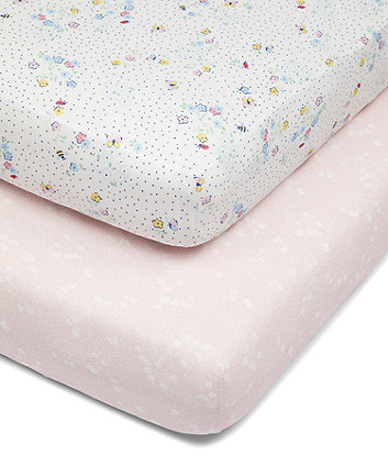 Mothercare Spring Flower Fitted Cot Bed Sheets - 2 Pack