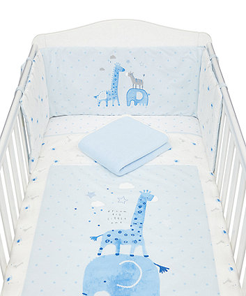 Mothercare My First Blue Little Safari Bed In Bag - 4 Piece
