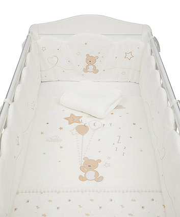Mothercare Little And Loved Bed in Bag With Long Bumper - 4-Piece