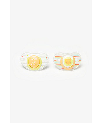 Mothercare Hear Me Roar And Tiger Orthodontic Soothers 6 Months+ - 2 Pack