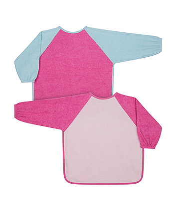 Mothercare Pink Colour Block Towelling Coverall Bibs - 2 Pack