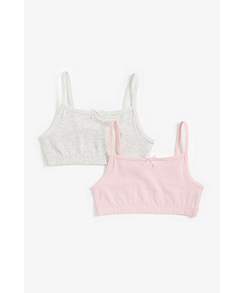 Mothercare Pink And Grey Marl Crop Tops - 2 Pack