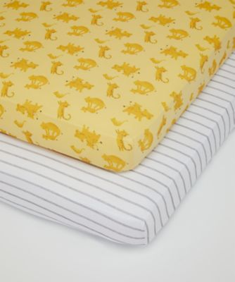 Mothercare Sleepy Safari Fitted Cot Sheets - 2pk
