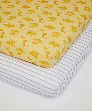 Mothercare Sleepy Safari Cot Fitted Sheets - 2 Pack