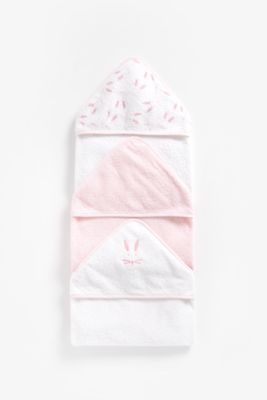 Mothercare Cuddle N Dry Hooded Towels 3pcs - Pink