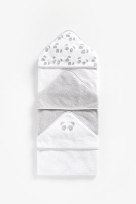 Mothercare Cuddle N Dry Hooded Towels 3pcs - Grey