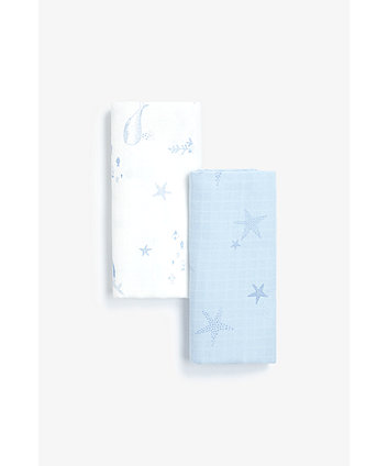 Mothercare You, Me And The Sea Extra-Large Muslins - 2 Pack