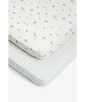 Mothercare You, Me And The Sea Fitted Cot Bed Sheets - 2 Pack