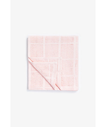 Mothercare Crib, Moses Basket And Pram Cellular Cotton Blanket- Pink