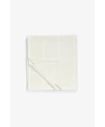 Mothercare Crib, Moses Basket And Pram Cellular Cotton Blanket- Cream