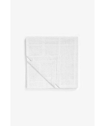 Mothercare Crib, Moses Basket And Pram Cellular Cotton Blanket- White