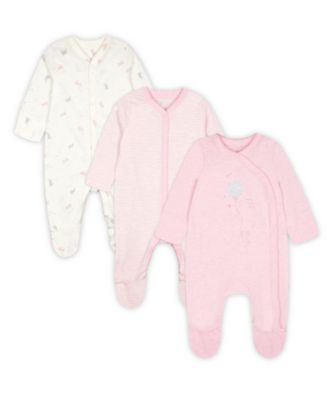 Mothercare My First Little Bunny Hanging Sleepsuits - 3 Pack