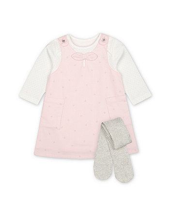 Mothercare My First Pink Cord Pinny Dress, Bodysuit And Tights Set