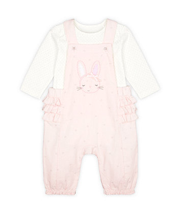 Mothercare My First Bunny Dungarees And Bodysuit