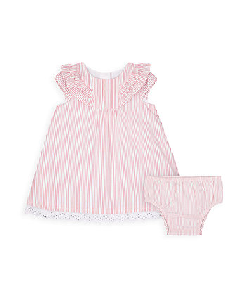 Mothercare Pink Seersucker Dress And Knickers Set