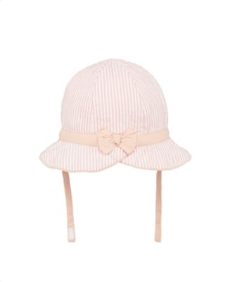 Mothercare My First Little Bunny Pink Striped Seersucker Hat