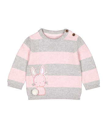 Mothercare Pink And Grey Bunny Jumper