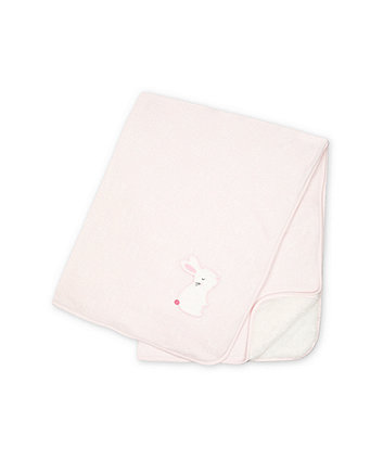 Mothercare My First  Pink Embossed Velour Shawl With Fluffy Lining