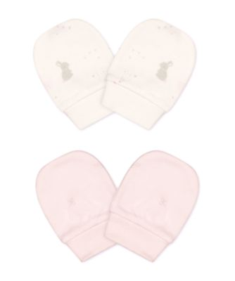 Mothercare My First Pink Little Bunny Mitts - 2 Pack