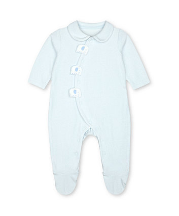 Mothercare My First Blue Velour Safari Elephant Collared All In One