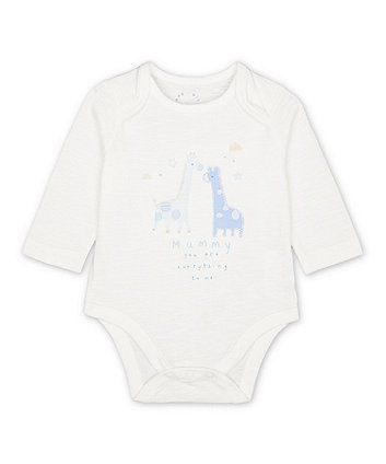 Mothercare My First White Giraffe Mummy Bodysuit