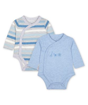 Mothercare My First Blue Striped Long Sleeve Bodysuits - 2 Pack