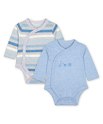 Mothercare Fashion My First Blue Bodysuits - 2 Pack