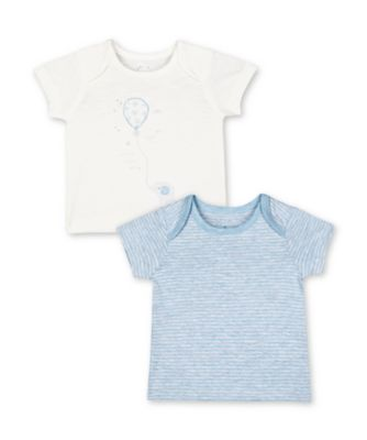 Mothercare My First Elephant Balloon And Stripe Short Sleeve T-Shirts - 2 Pack