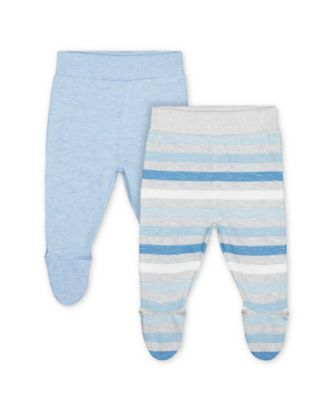 Mothercare My First Safari Blue And Stripe Leggings With Feet Cover - 2 Pack