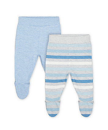 Mothercare My First Blue And Stripe Leggings With Feet - 2 Pack