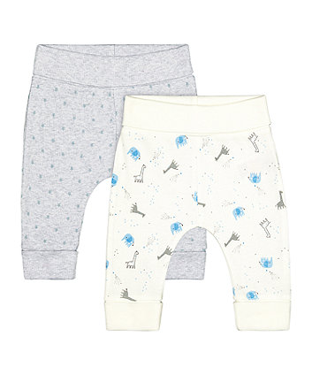 Mothercare My First Animal And Ribbed Grey Star Leggings - 2 Pack