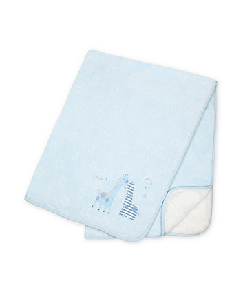Mothercare My First Velour Blue Safari Shawl With Fluffy Lining
