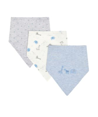 Mothercare My First Blue Safari Dribbler Bibs - 3 Pack