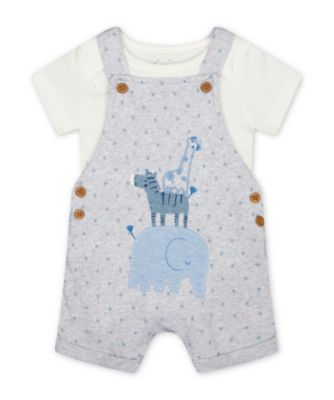 Mothercare My First Ribbed Grey Animal Graphic Bibshorts And Bodysuit Set