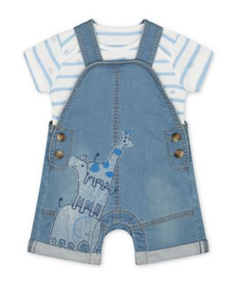 Mothercare My First Denim Safari Bibshorts And Star Bodysuit Set