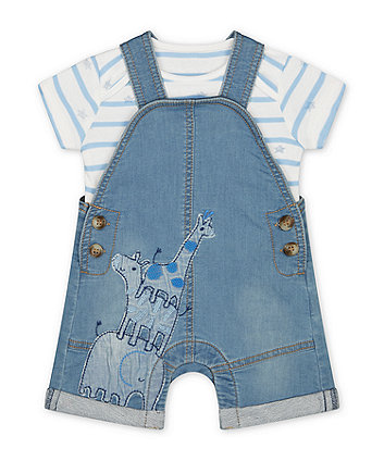 Mothercare My First Denim Safari Bibshorts And Star Bodysuit Set