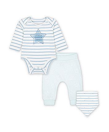 Mothercare My First Blue Star Bodysuit, Velour Leggings And Bib Set