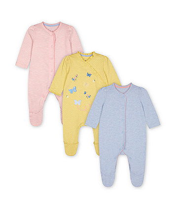 Mothercare Grey, Pink Stripe And Yellow Butterfly Sleepsuits - 3 Pack