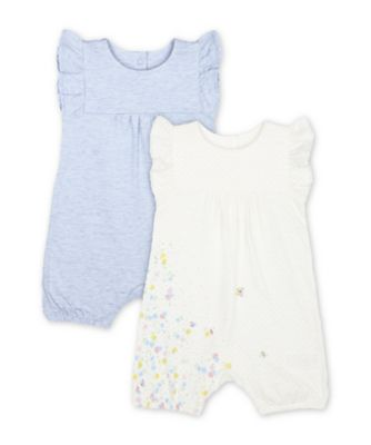 Mothercare Spring Flower And Blue Frill Rompers - 2 Pack