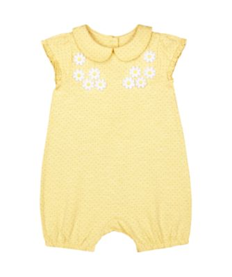 Mothercare Spring Flower Yellow Spot Daisy Applique Collared Romper