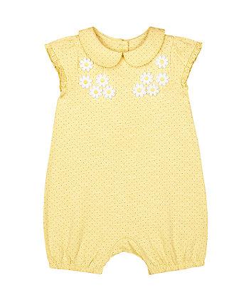 Mothercare Yellow Spot Daisy Applique Collared Romper