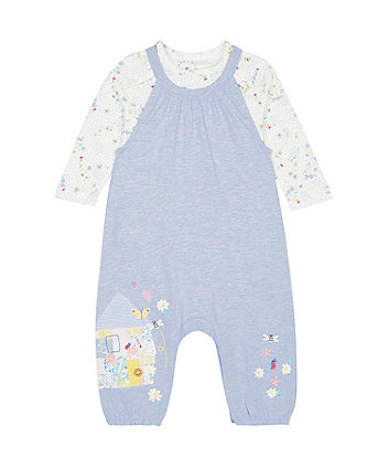 Mothercare Little House Dungarees And Bodysuit Set
