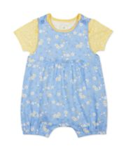 Mothercare Blue Chambray Bibshorts And Bodysuit Set