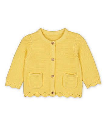 Mothercare Yellow Purl-Knit Cardigan