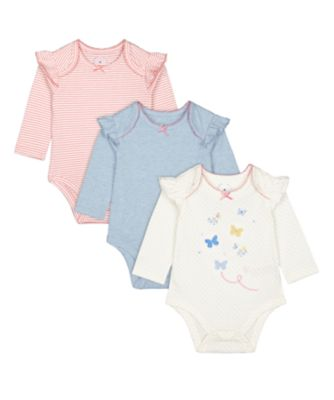 Mothercare Spring Flower Butterfly, Pink Stripe And Blue Long Sleeve Bodysuits - 3 Pack
